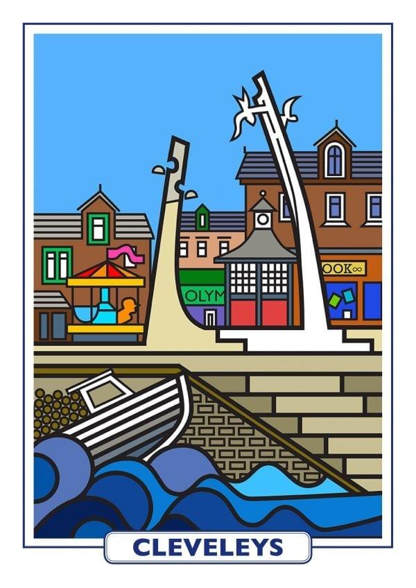 Features of Cleveleys, original art print design from Seaside Emporium