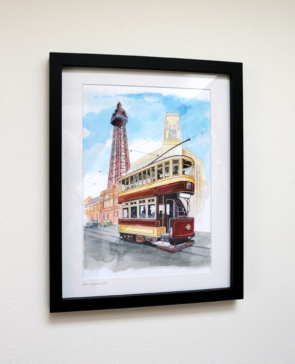 Framed watercolour painting of Heritage Tram to Blackpool Tower, from Seaside Emporium