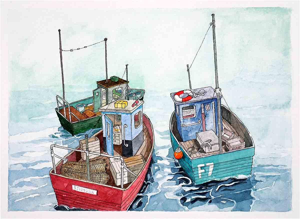 Fishing Boats, original seaside art, watercolour painting by Seaside Emporium