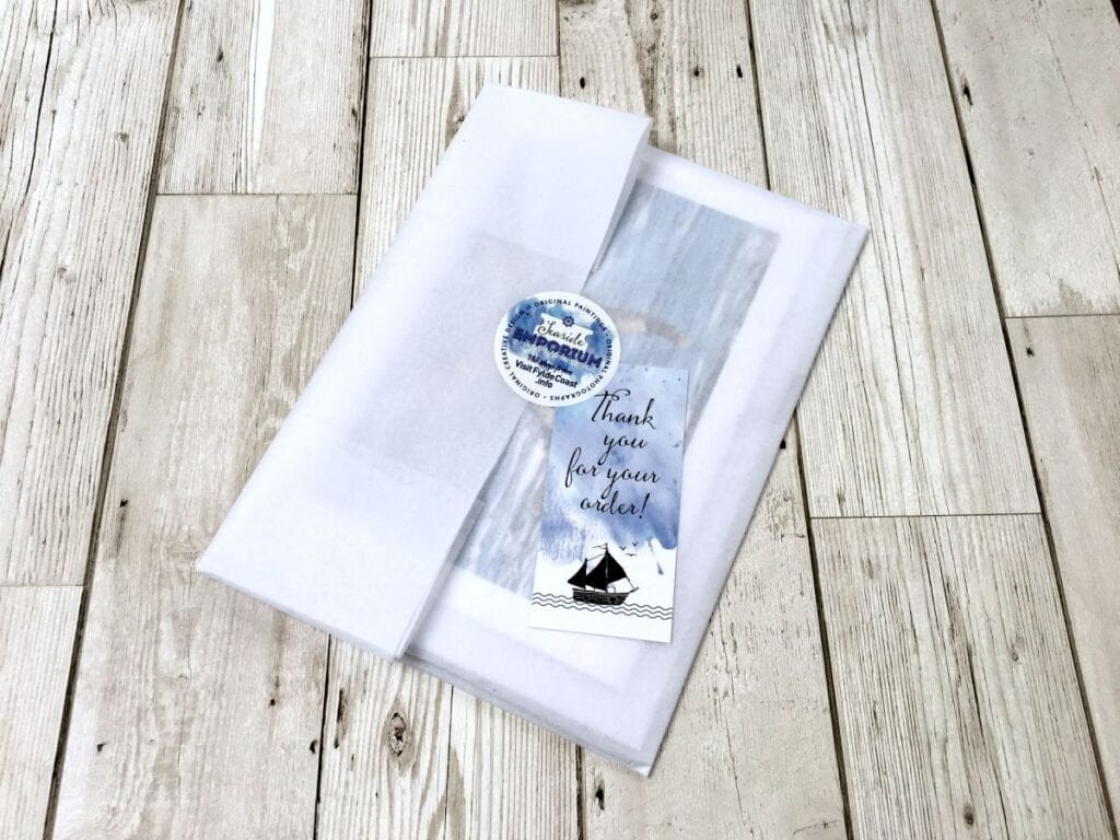 Gift wrap packaging of deliveries from Seaside Emporium