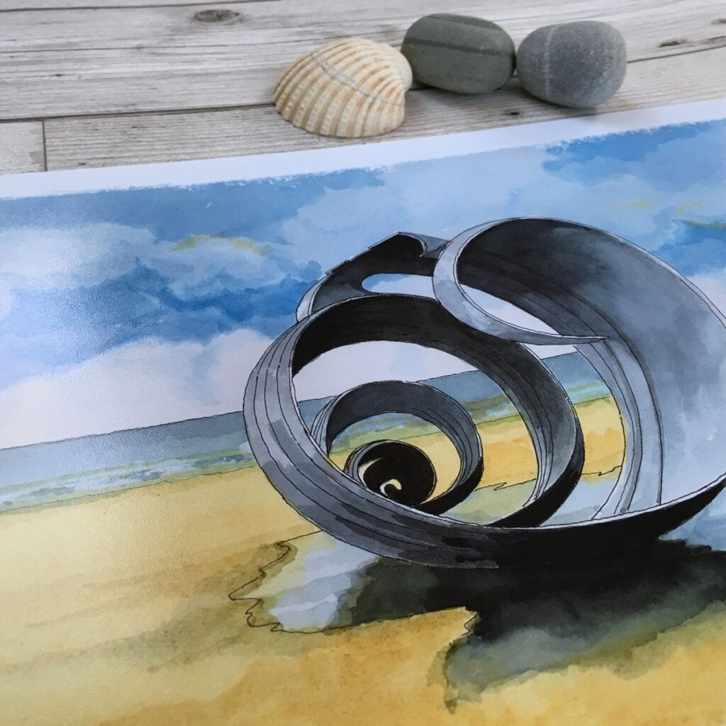 Watercolour painting of Mary's shell at Cleveleys. Original seaside art from Seaside Emporium