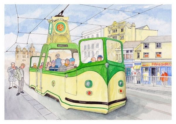 Watercolour painting of Blackpool Heritage boat tram by Seaside Emporium