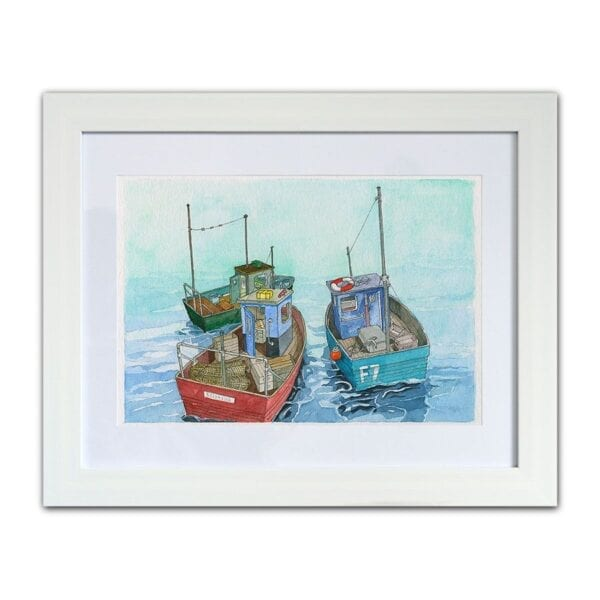 Watercolour painting of Three Fishing Boats, by Seaside Emporium