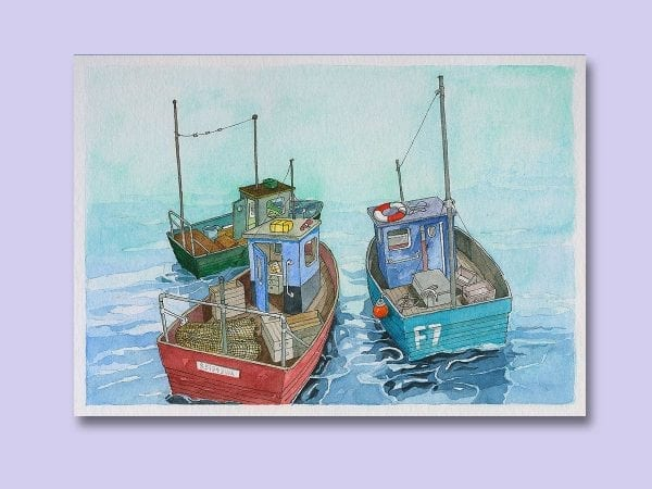 Watercolour painting of Three Fishing Boats, from Seaside Emporium