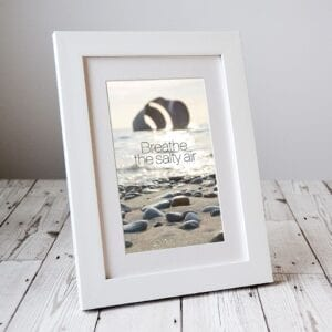 Breathe the salty air - photograph of Mary's Shell with inspirational quote. Delivered through the letterbox by Seaside Emporium