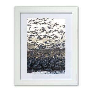 Birds flocking on the beach - framed coastal photographic print from Seaside Emporium