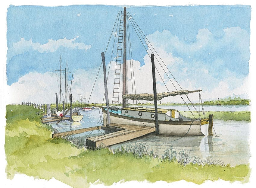 Watercolour painting of boats moored at Skippool