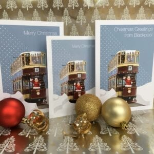 Christmas Card – Greetings from Blackpool (Tram) from Seaside Emporium