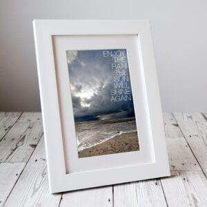 Do you know someone who's going through a difficult patch in life? Send this image 'Enjoy the Rain' from our range of Letterbox Picture Gifts