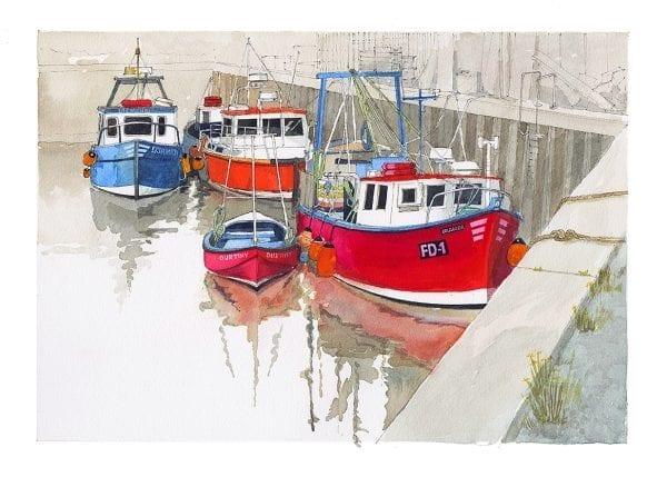 Fishing Boats in Fleetwood Dock, original watercolour painting by Seaside Emporium