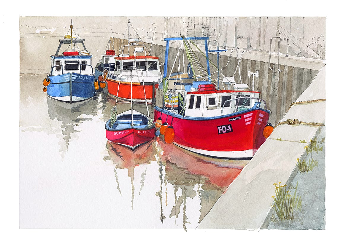 Fishing Boats in Fleetwood Dock, original watercolour painting by Seaside Emporium