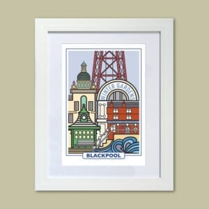 Features of Blackpool, original art print design from Seaside Emporium