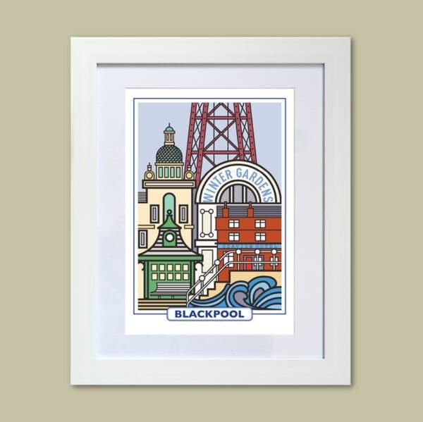 Features of Blackpool, original art print design from Seaside Emporium