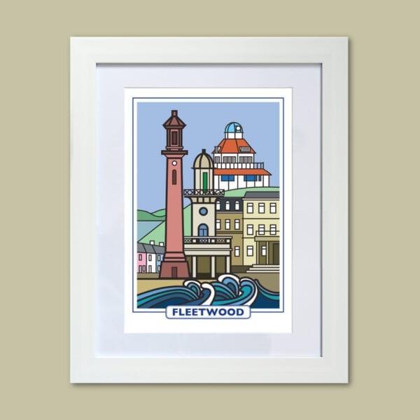 Features of Fleetwood, original art print design from Seaside Emporium