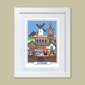 Features of Lytham, original art print design from Seaside Emporium