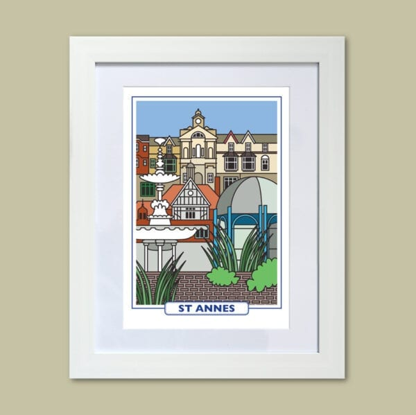 Features of St Annes, original art print design from Seaside Emporium
