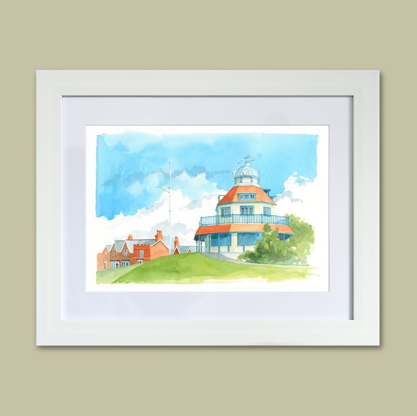 Watercolour painting of The Mount Fleetwood - View 1 from Seaside Emporium