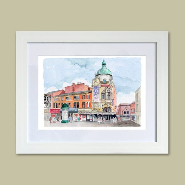 Watercolour painting of Blackpool Grand Theatre and Church Street from Seaside Emporium