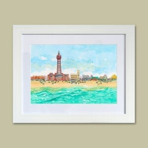 Watercolour painting of Blackpool seafront from Seaside Emporium
