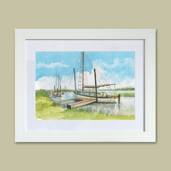 Watercolour painting of boats moored at Skippool from Seaside Emporium