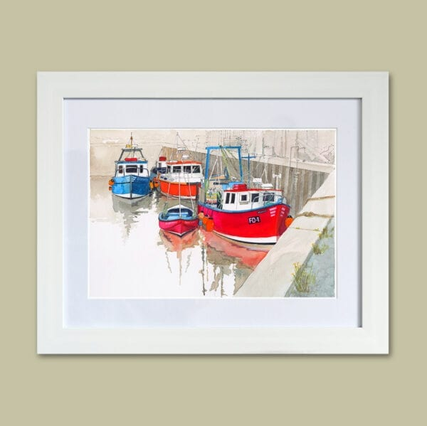 Fishing boats in Fleetwood Dock, framed print of an original watercolour painting by Seaside Emporium