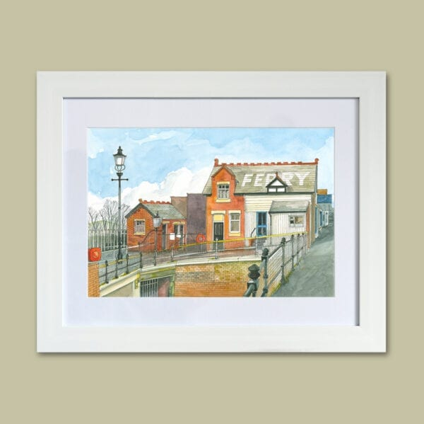 Watercolour painting of Fleetwood Ferry Office from Seaside Emporium