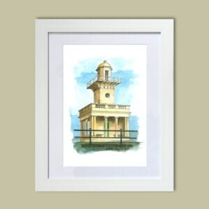 Watercolour painting of Fleetwood Lower Lighthouse from Seaside Emporium