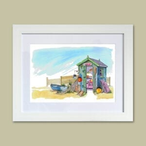 Man Cave - original watercolour painting of a place to go and hide! From Seaside Emporium