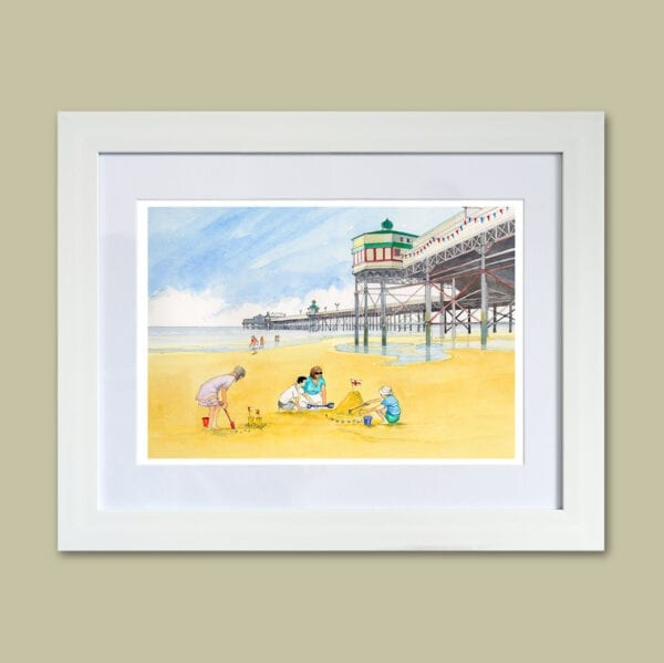 Watercolour painting of Sandcastles at Blackpool North Pier, from Seaside Emporium