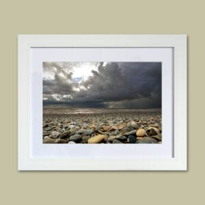 Storm over Rossall Beach at Cleveleys. Photographic print from Seaside Emporium.