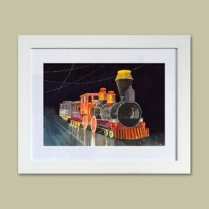 Watercolour painting of the Western Train Illuminated Tram from Seaside Emporium