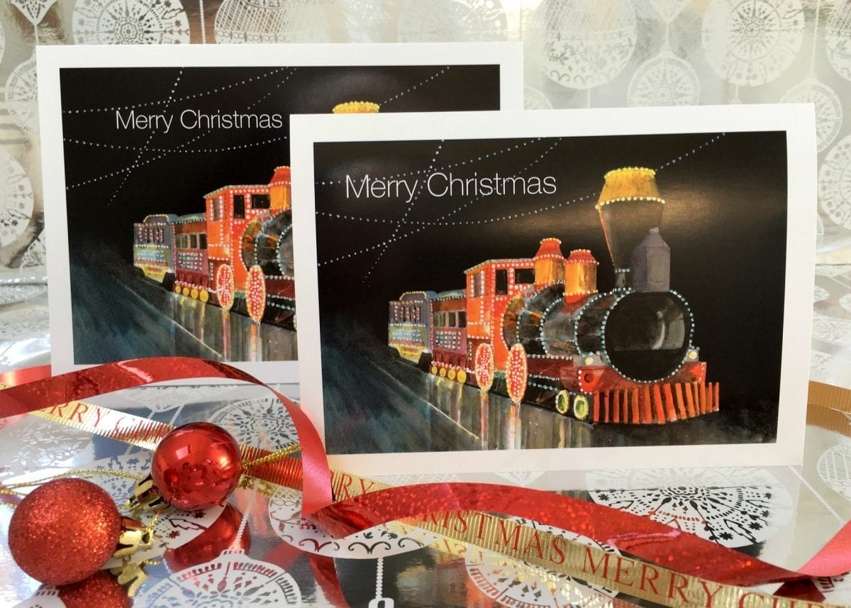 Christmas Card - Western Train Tram from Seaside Emporium