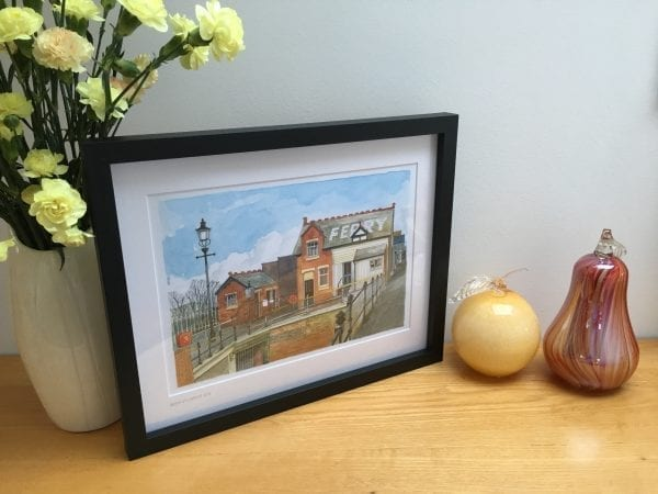 Framed watercolour painting of Fleetwood Ferry Office from Seaside Emporium