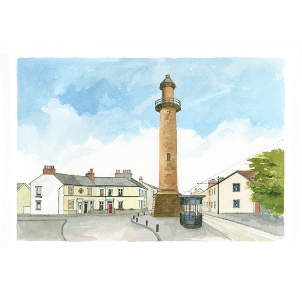 Watercolour painting of Fleetwood Upper Lighthouse from Seaside Emporium