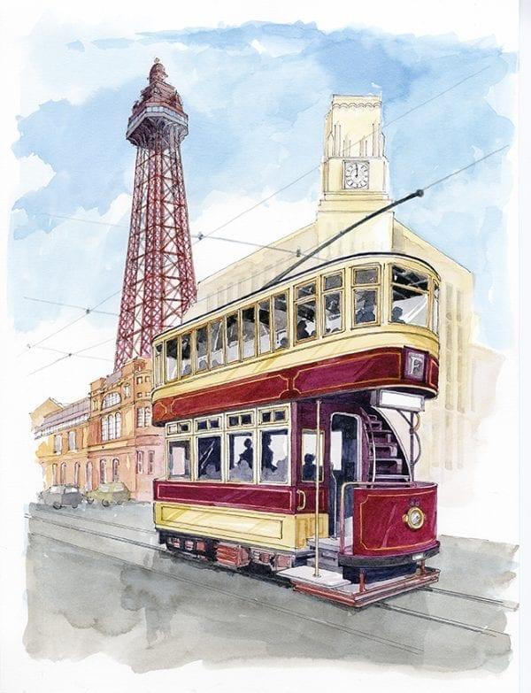 Watercolour painting of Heritage Tram to Blackpool Tower, from Seaside Emporium