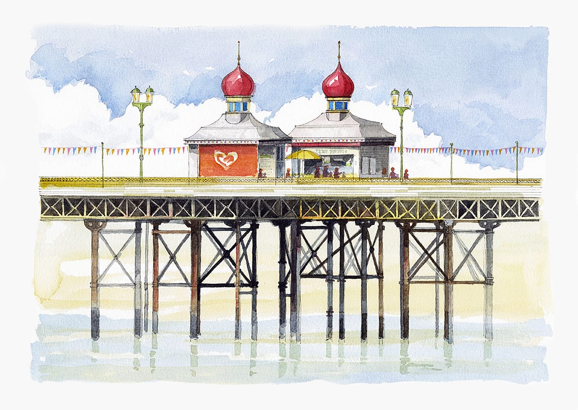 Watercolour painting of a kiosk on Blackpool North Pier from Seaside Emporium