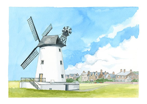 Watercolour painting of Lytham Windmill from Seaside Emporium