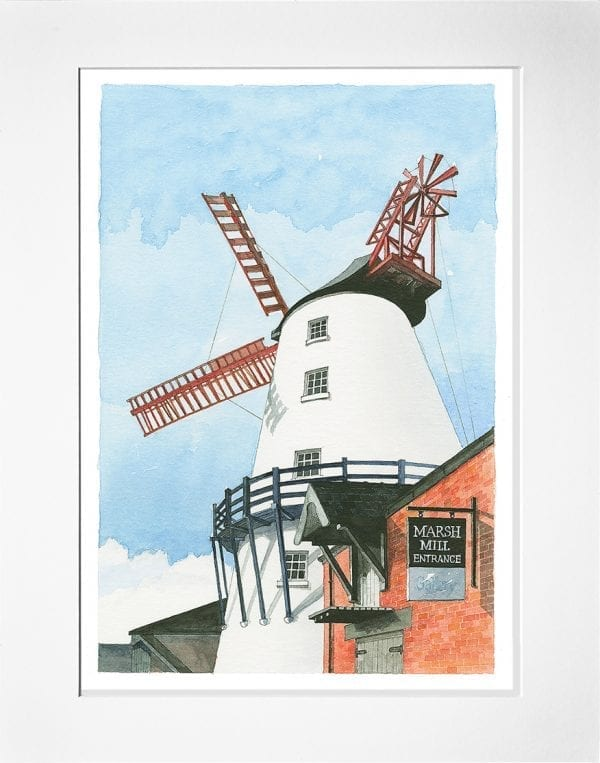 Watercolour painting of Marsh Mill Windmill at Thornton, from Seaside Emporium
