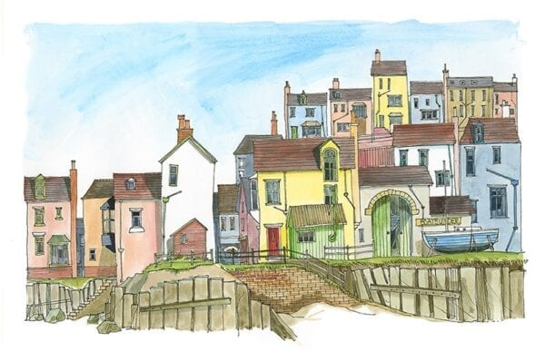Watercolour painting, Village on the Quay, from Seaside Emporium